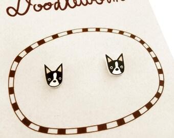 Boston Terrier Earrings (Tiny), Boston Terrier Jewelry, Tiny Earrings, Boston Terrier Jewellery, Boston Terrier Gifts, Shrink Plastic