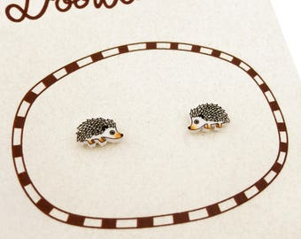 Hedgehog Earrings (Tiny), Hedgehog Jewelry, Tiny Earrings, Hedgehog Jewellery, Hedgehog Gifts, Woodland Animal Earrings, Shrink Plastic