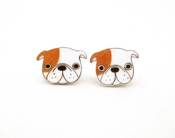 English Bulldog Earrings, English Bulldog Jewelry, English Bulldog Jewellery, English Bulldog Gifts, Dog Earrings, Shrink Plastic