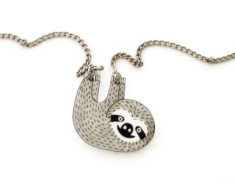Sloth Necklace, Sloth Jewelry, Sloth Jewellery, Sloth Gifts, Animal Necklace, Animal Jewelry, Animal Jewellery, Shrink Plastic