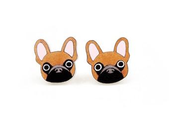Tan Brown French Bulldog Earrings, French Bulldog Jewelry, French Bulldog Jewellery, French Bulldog Gifts, Dog Earrings, Shrink Plastic