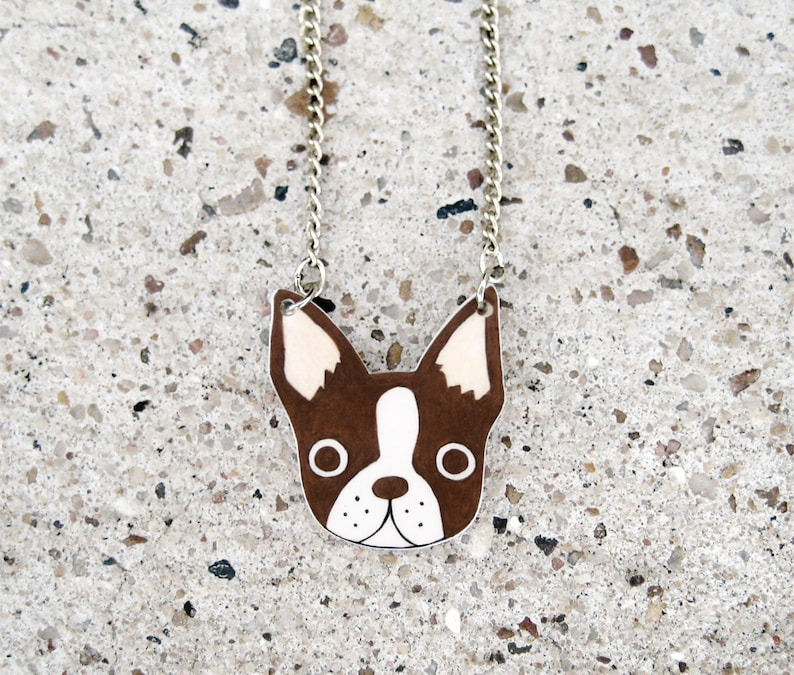 Red Brown Boston Terrier Necklace Boston Terrier Jewelry  b436457dfaea