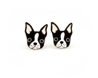 Boston Terrier Earrings, Boston Terrier Jewelry, Boston Terrier Jewellery, Boston Terrier Gifts, Dog Earrings, Dog Jewelry, Shrink Plastic