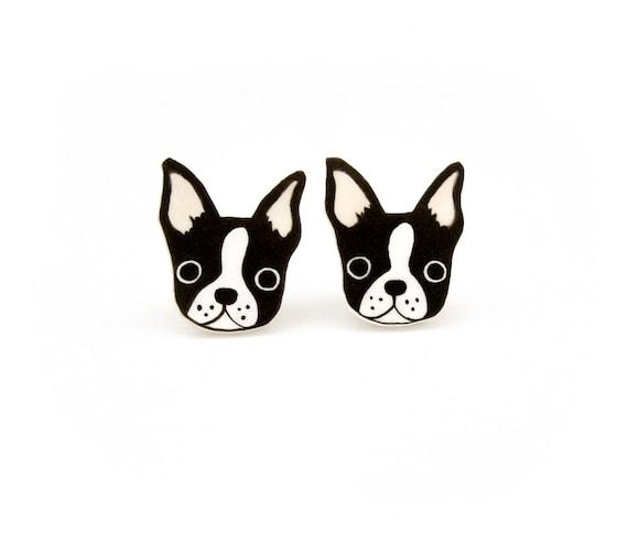 Dog earrings Boston Terrier and Dalmatian resin stud earrings