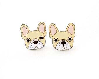 Cream French Bulldog Earrings, French Bulldog Jewelry, French Bulldog Jewellery, French Bulldog Gifts, Dog Earrings, Shrink Plastic