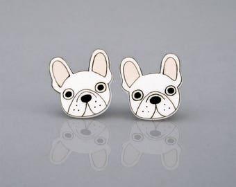 White French Bulldog Earrings, French Bulldog Jewelry, French Bulldog Jewellery, French Bulldog Gifts, Dog Earrings, Shrink Plastic