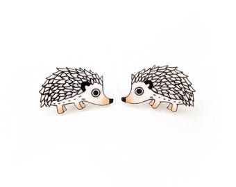 Hedgehog Earrings, Hedgehog Jewelry, Hedgehog Jewellery, Hedgehog Gifts, Woodland Animal Earrings, Woodland Animal Jewelry, Shrink Plastic