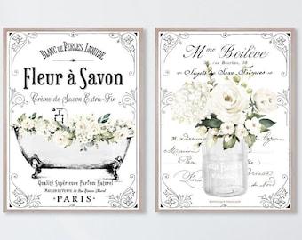 French Bathroom SET of 2 Prints, White Floral - 4 Backgrounds (no frame) Fleur Savon Decor Soap France Country Clawfoot Art Flowers Paris