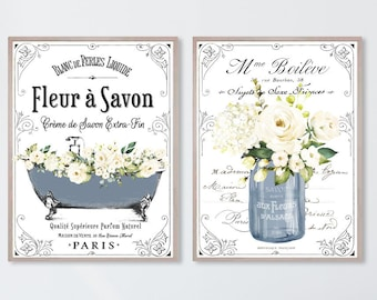 French Bathroom SET of 2 Prints, Navy - 4 Backgrounds, no frame, Fleur á Savon Decor Soap White Floral Clawfoot Bathtub Flowers Paris