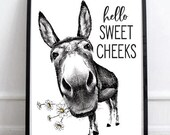 Hello Sweet Cheeks Donkey Full Body Daisies Print - (no frame) 4 Backgrounds - Butt Ass Half Bath Funny Sign Decor Vintage