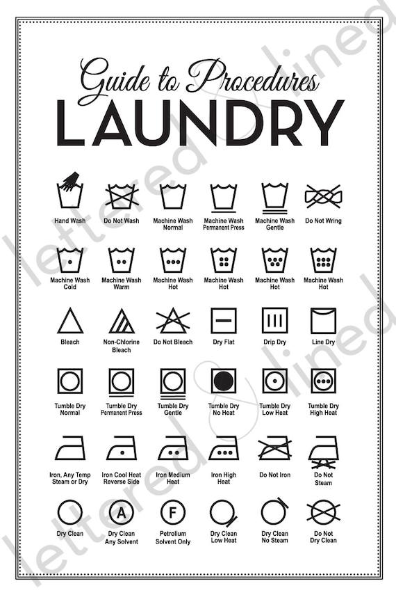 Laundry Symbols Poster Mid Century Mid Century Modern Etsy
