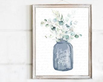 Navy Jar Eucalyptus Bouquet Handmade Soap Co Print - 4 Backgrounds (no frame), Bathroom Mason Mud Room Half Bath Floral Sign Print Decor