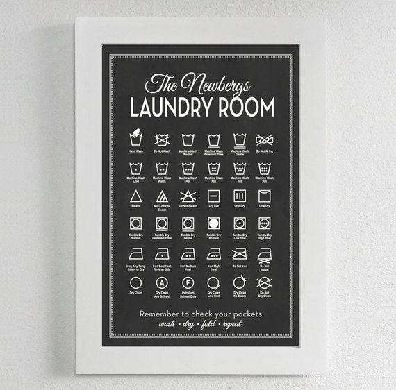 Customizable Laundry Symbols Print Personalize Guide To Etsy