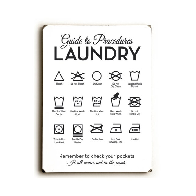 Wood Laundry Sign Guide To Procedures Laundry Room Symbols Etsy