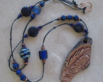 "Sale - Pottery ""Shard"" Feather Necklace in Copper and Blue Gilders Paste with Lapis, Wood and Glass Beads"