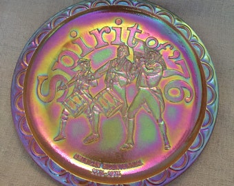 Spirit of 76 American Bicentennial  Carnival Glass Plate gorgeous color
