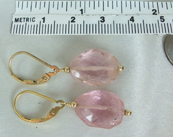 Pink tourmaline nugget earrings interchangeable leverback 14k gold filled faceted gemstone handmade item 892