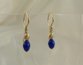 Blue glass 14k gold filled earrings MLMR item 916