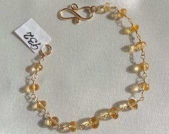 Citrine quartz gold filled bracelet gemstone handmade  Item 932