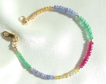 Yellow sapphire with emerald tanzanite ruby 14k gold filled stacking bracelet item 951