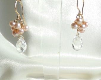 Crystal briolette with pink pearls gold filled earrings gemstone handmade item 942