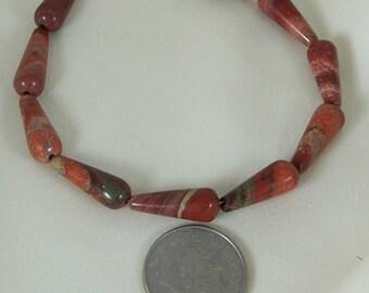 Poppy jasper bracelet gold filled 7 5/8 inches gemstone handmade MLMR item 843