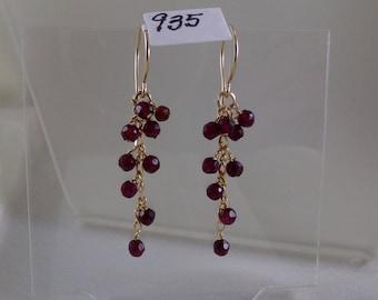 """Garnet dangle gold filled earrings gemstone handmade 1 7/8""""  item 935"""