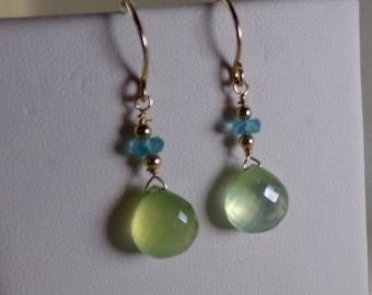 Prehnite briolette and emerald gold filled earrings gemstone handmade  item 943