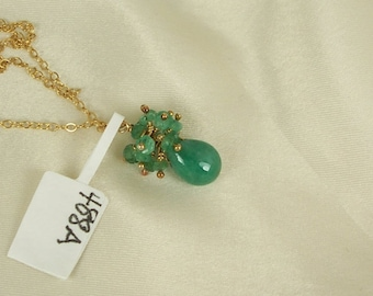 Emerald necklace briolette with emerald cluster 14k gold filled May gemstone handmade MLMR item 488a