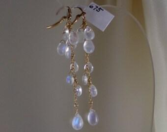 "Rainbow moonstone briolette earrings 14k gold filled 3"" total leverback AAA gemstone handmade item 675"