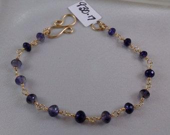 Iolite gold filled link bracelet  MLMR gemstone handmade  item 930-17