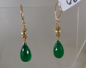 Green onyx briolette earrings 14k gold filled with vermeil ornament gemstone handmade  item 890