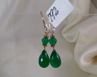 Green onyx briolette with vermeil daisy ornament gold filled earrings gemstone handmade  item 792