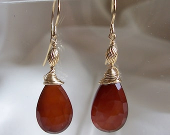 Carnelian 14mm briolette earrings 14k gold filled gemstone handmade MLMR item 714