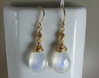Rainbow moonstones  briolette earrings 14k gold filled  about 13mm gemstone handmade  MLMR item 668