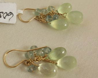 Prehnite briolette earrings 1 1/2 inch with fluorite  14k gold filled gemstone handmade MLMR item 605
