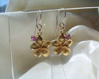 Plumeria flower of vermeil with pink tourmaline on gold filled wire earrings gemstone handmade MLMR item 779