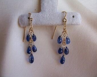 """Little Blue kyanite teardrop briolette dangle earrings 1.5"""" total  14k gold filled gemstone handmade item 437"""