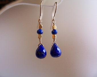 Small Lapis lazuli briolette earrings 14k gold filled vermeil ornaments gemstone handmade MLMR item 347