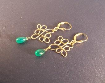 Green onyx briolette earrings Celtic knot leverback gold filled earrings gemstone handmade wire wrapped  item 793