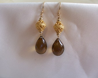 Brown quartz faceted pear 14mm briolette earrings 1 5/8 inches 14k gold filled gemstone handmade MLMR item 658