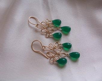 Green onyx  earrings Celtic 14k gold filled earrings 1 7/8 inches MLMR  item 649