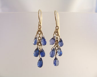 "Tiny blue kyanite teardrop briolette earrings 1 3/8"" total 14k gold filled gemstone handmade item 449"