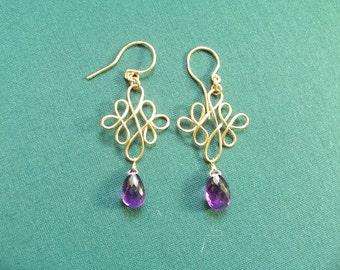Amethyst 11mm briolette  earrings Celtic wirewrapped 14k gold filled earrings  item 634