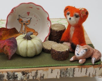 Needle Felted Fox Whimsy,Wool Fox,Miniature Felted Fox, Whimsical Felted Fox,Nursery Fox Decor,OOAK Felted Fox,Fox Fabric Art Decor,Fox Gift