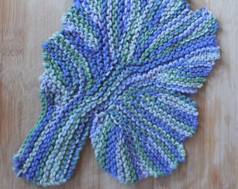 Knit Lettuce Leaf Cotton Washcloth, Knit Cotton Washcloth, Lettuce Leaf Washcloth, Knit Cotton Dish Rag, Vegan Gift, Christmas Gifts