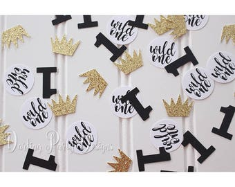 """/""""Wild One/"""" 1st Birthday Over Sized Table Confetti Die Cuts 150 pieces Boy"""