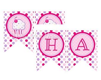 banner cupcake birthday party banner cupcake birthday etsy
