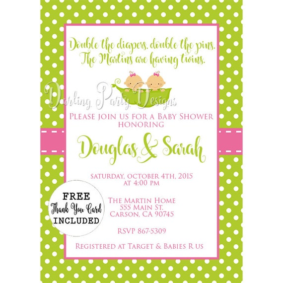 Two peas in a pod baby shower invitation two peas in a pod etsy image 0 filmwisefo