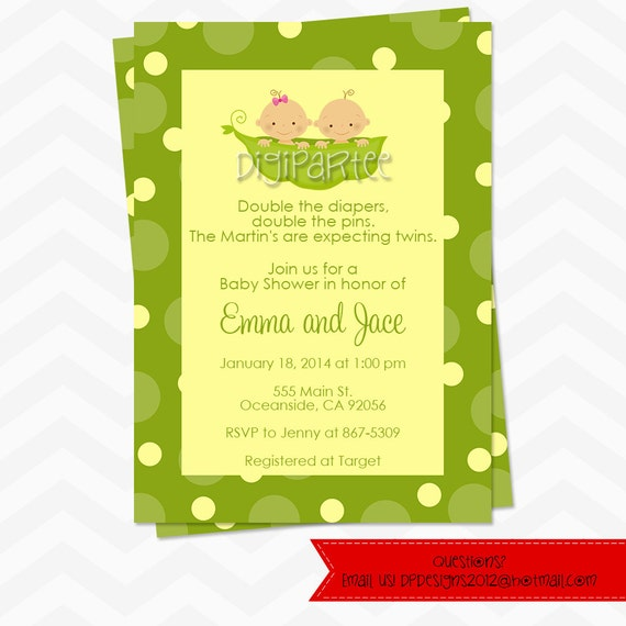 Two peas in a pod baby shower invitation twins etsy image 0 filmwisefo